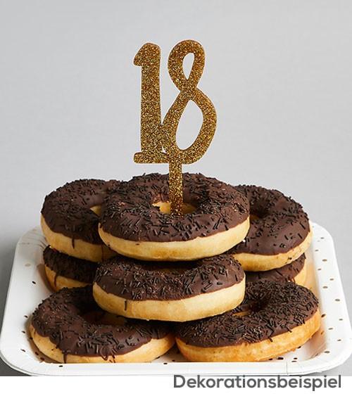 "Cake Topper aus Acryl ""18"" - glitter gold"
