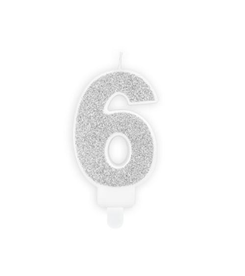"Zahlenkerze mit Glitter ""6"" - silber - 7 cm"