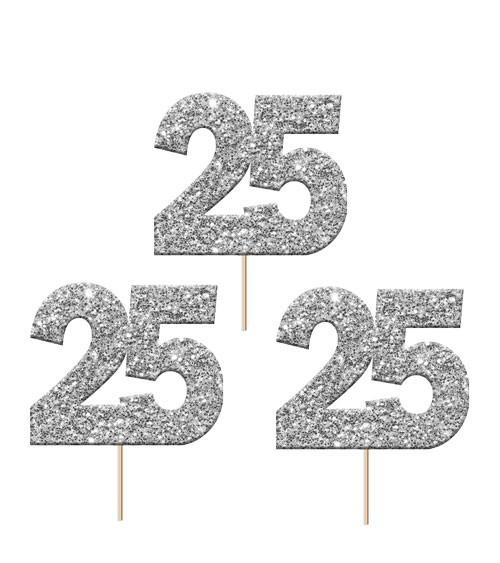 """Cupcake-Topper Zahl """"25"""" - glitter silber - 12 Stück"""
