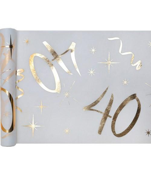 """Tischläufer aus Vlies """"40"""" - weiß, gold - 30 cm x 5 m"""