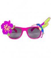Partybrille mit Blume und Kolibri
