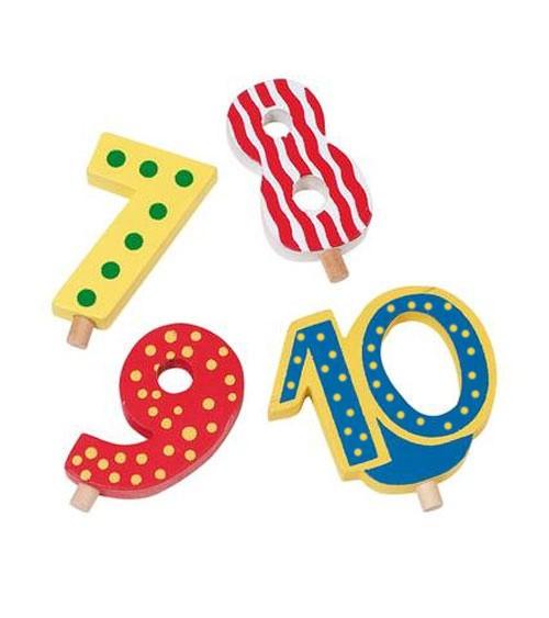 Holz-Zusatzzahlen 7 bis 10 für Geburtstagszüge