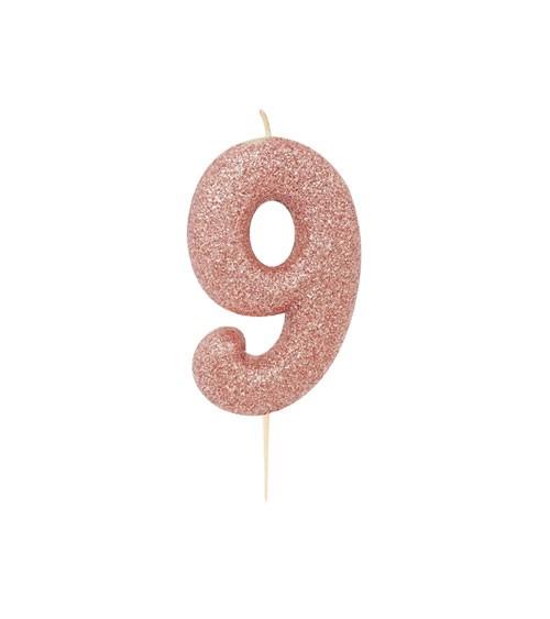 """Geburtstagskerze mit Glitter """"9"""" - rosegold"""
