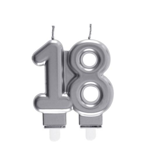 "Geburtstagskerze ""18"" - silber - 7,5 x 7 cm"