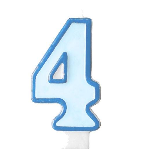 """Geburtstagskerze """"4"""" - hellblau/dunkelblau"""