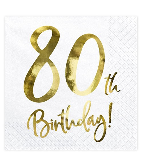 "Servietten ""80th Birthday!"" - weiß/metallic gold - 20 Stück"