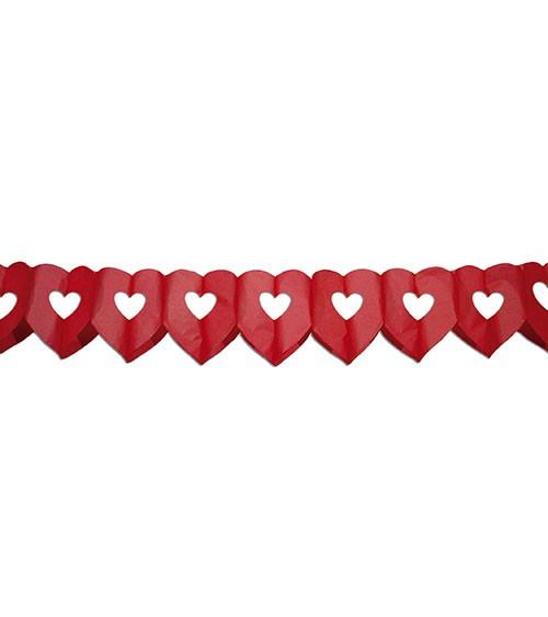 Herz-Papiergirlande - rot - 6 m