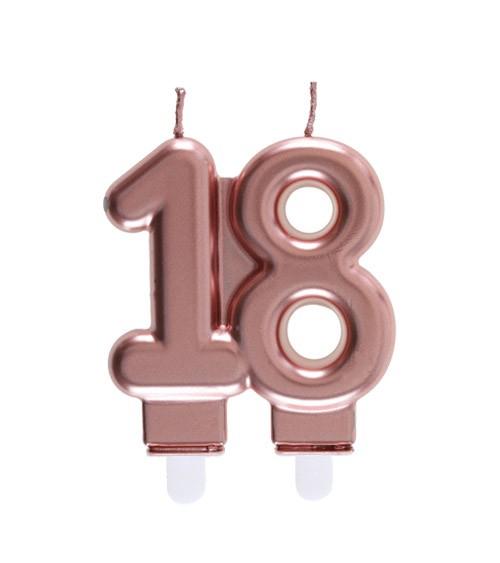 """Geburtstagskerze """"18"""" - rosegold - 7,5 x 7 cm"""