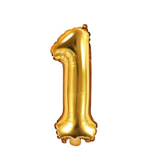 "Folienballon Zahl ""1"" - gold - 35 cm"