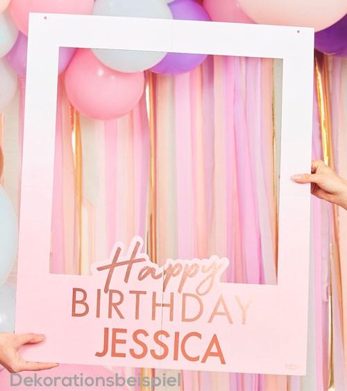 "Selfie-Rahmen mit Stickern ""Happy Birthday"" - ombre rosa - 60 x 72 cm"