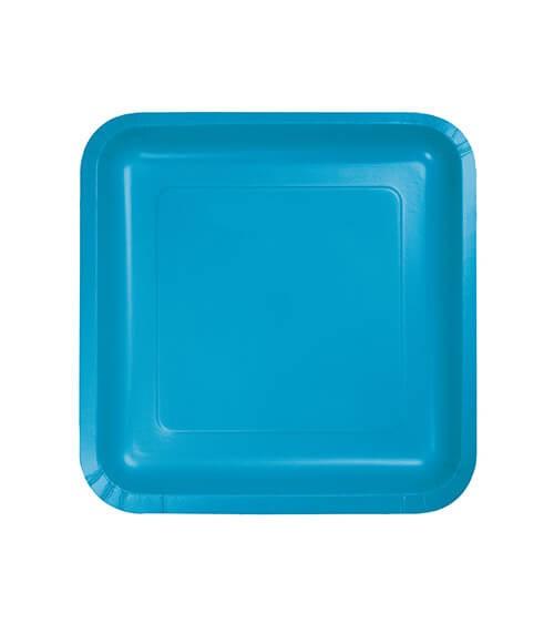Kleine eckige Pappteller - türkisblau - 18 Stück