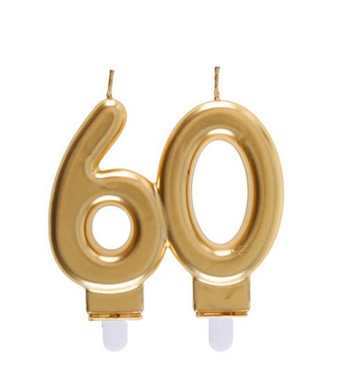 "Geburtstagskerze ""60"" - gold - 7,5 x 7 cm"