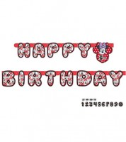 "Individualisierbare Happy Birthday-Girlande ""Minnie Mouse"" - 1,8 m"