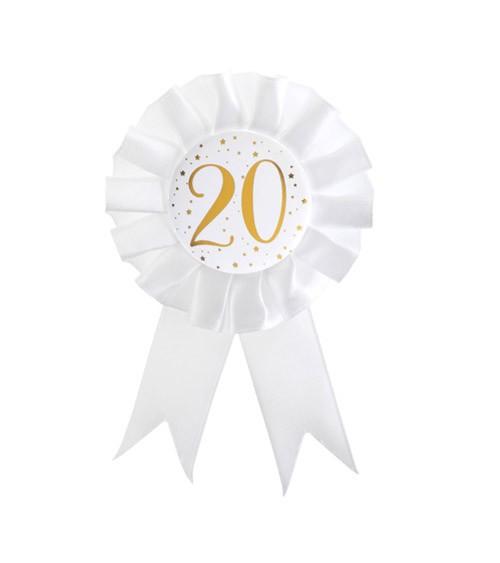 """Geburtstagsorden """"20"""" - weiß, gold"""