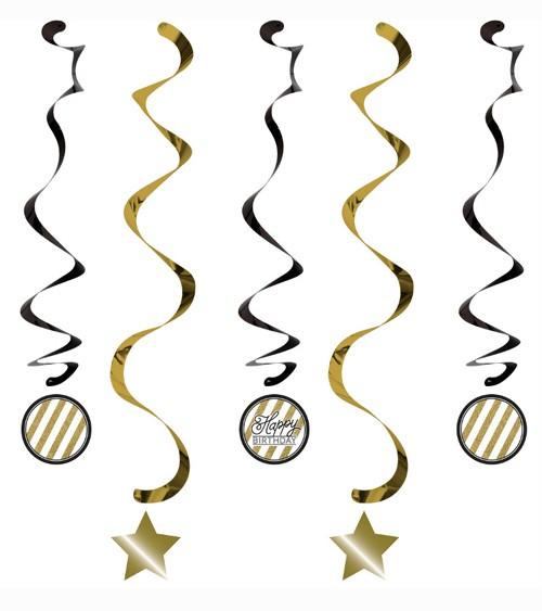 """Spiralgirlanden """"Black & Gold"""" - Happy BIRTHDAY - 5 Stück"""