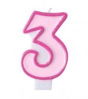 """Geburtstagskerze """"3"""" - rosa/pink"""