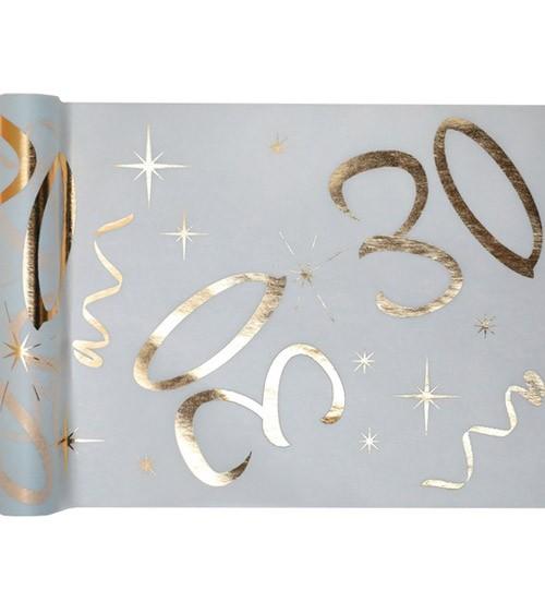 """Tischläufer aus Vlies """"30"""" - weiß, gold - 30 cm x 5 m"""