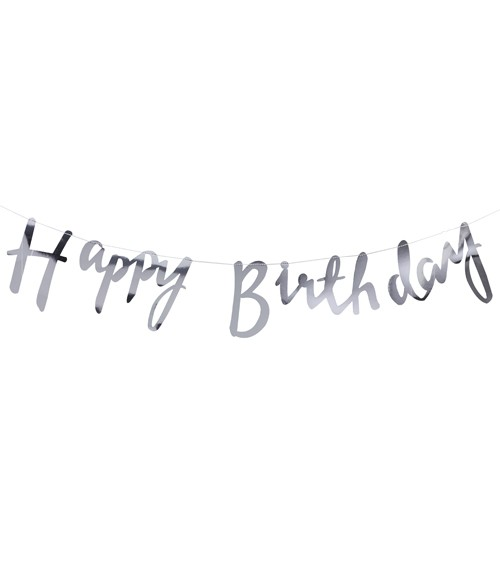 "Silberne ""Happy Birthday""-Girlande - 1,5 m"