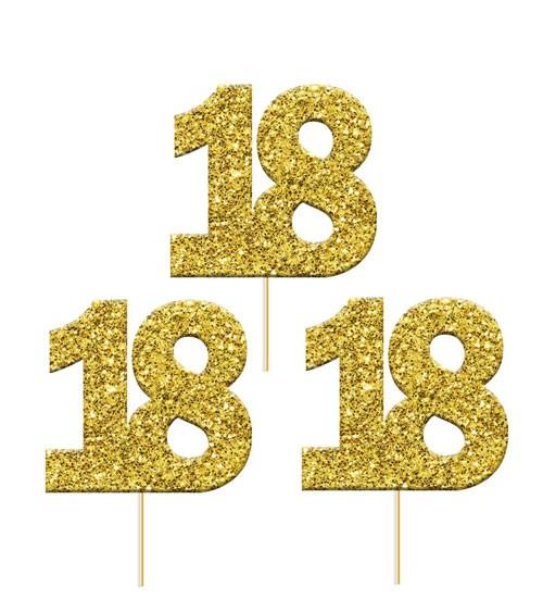 "Cupcake-Topper Zahl ""18"" - glitter gold - 12 Stück"