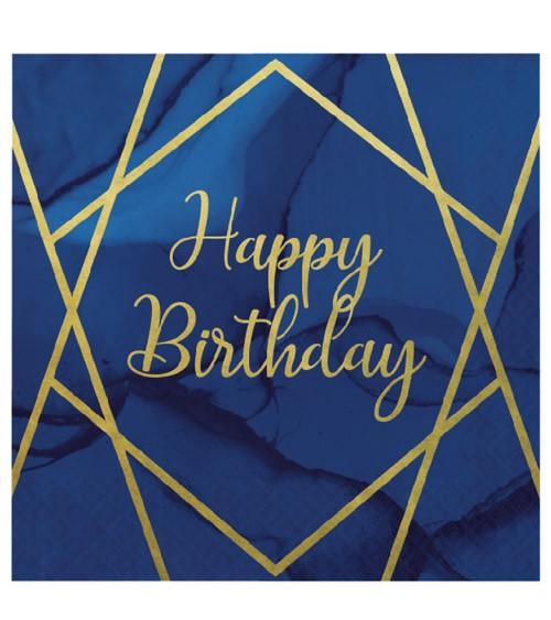 """Servietten """"Geo Navy"""" - Happy Birthday - 16 Stück"""