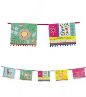 "Wimpelgirlande mit Pom Poms ""Mexican Boho"" - 4 m"