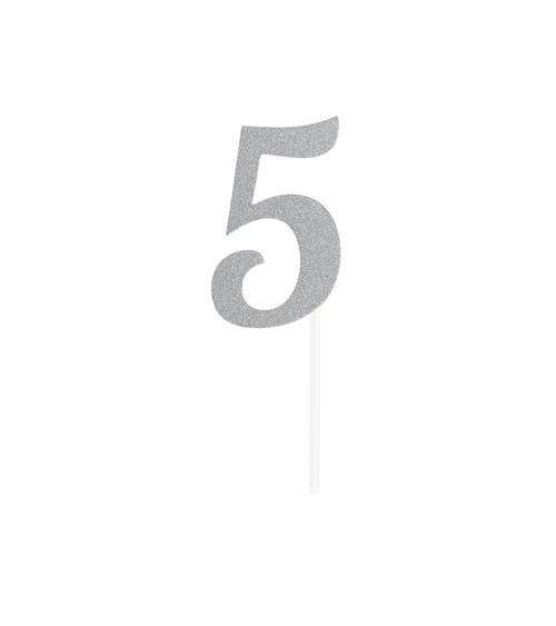 """Kuchen-Topper-Zahl aus Pappe """"5"""" - glitter silber - 5 x 7,5 cm"""