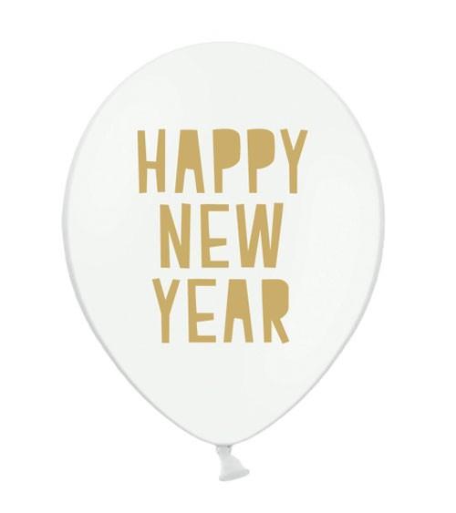 """Luftballons """"Happy New Year"""" - weiß/gold - 6 Stück"""