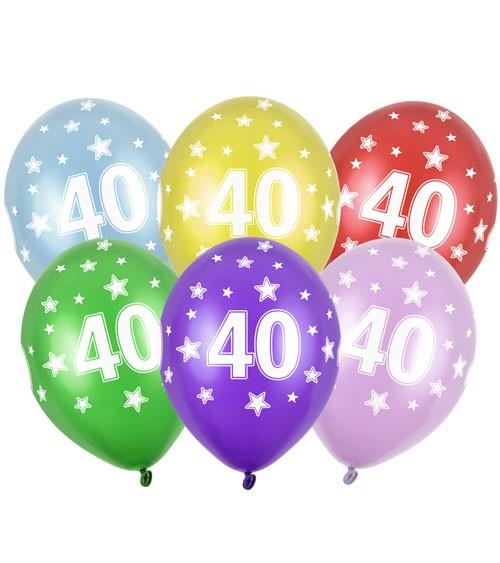 "Metallic-Luftballons ""40"" mit Sternen - 6 Stück"