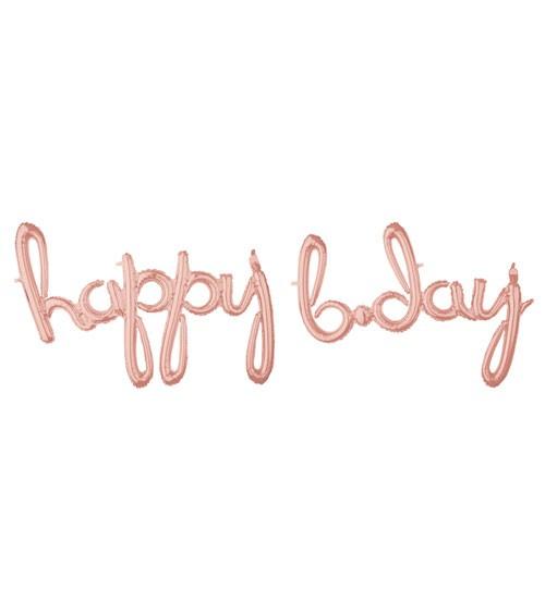 "Script-Folienballon ""happy b-day"" - rosegold - 192 x 68 cm"