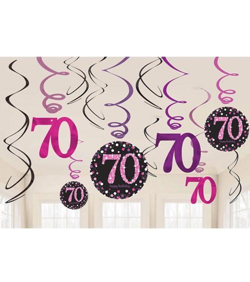 """Spiralgirlanden """"Sparkling Pink"""" - 70. Geburtstag - 12-teilig"""