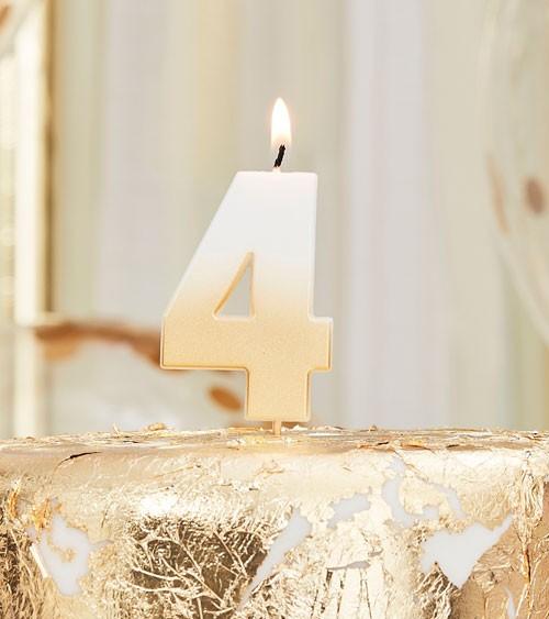 "Zahlenkerze ""4"" - ombre gold - 6 cm"