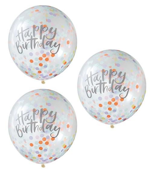 "Transparente Ballons mit Konfetti ""Happy Birthday"" - 5 Stück"