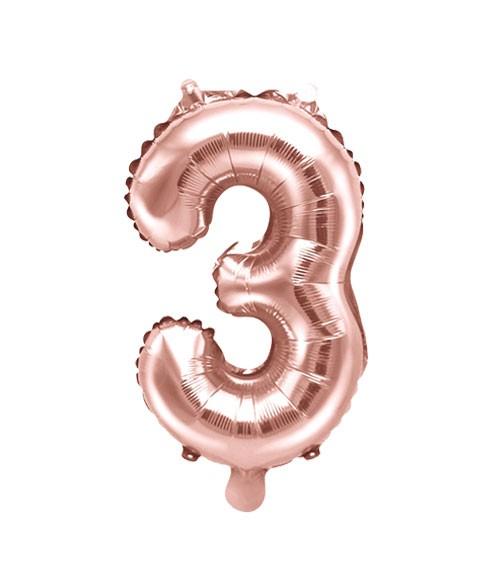 "Folienballon Zahl ""3"" - rosegold - 35 cm"