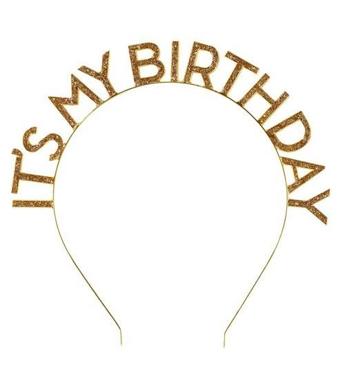 """Haarreif aus Metall """"Its my Birthday"""" - glitter gold"""