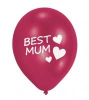 """Luftballons """"Best Mum"""" - pink - 6 Stück"""
