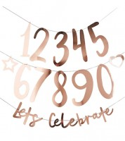 "Individualisierbare Girlande ""Lets Celebrate""- rosegold - 25-teilig"
