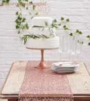 Tischläufer mit Pailletten - rosegold - 30 x 275 cm