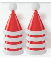 Weihnachts-Partyhüte mit Pom Poms - 8 Stück