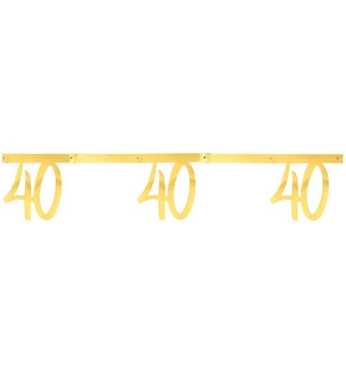 """Zahlengirlande aus Papier """"40"""" - metallic gold - 2,5 m"""