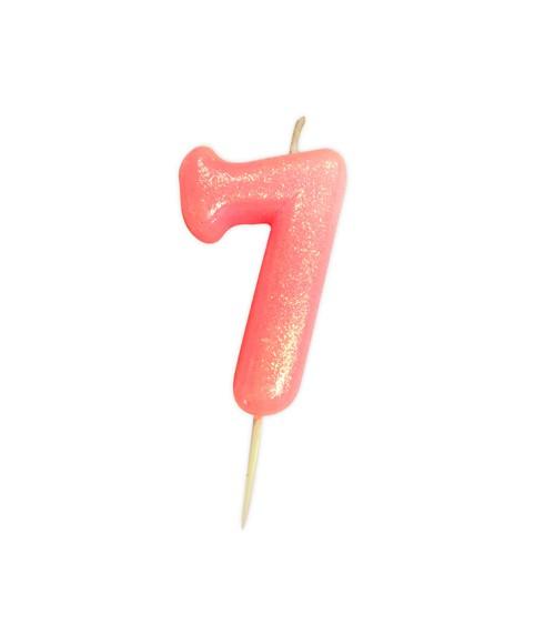 """Geburtstagskerze mit Glitter """"7"""" - rosa"""