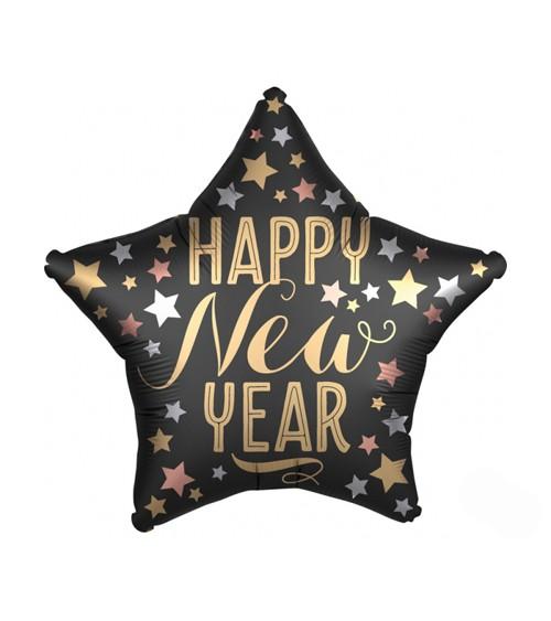 "Stern-Folienballon ""Happy New Year"" - Satin-Look - 48 cm"