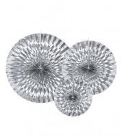 Rosetten-Set - silber metallic - 3-teilig