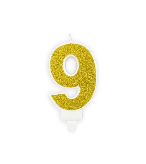 "Zahlenkerze mit Glitter ""9"" - gold - 7 cm"