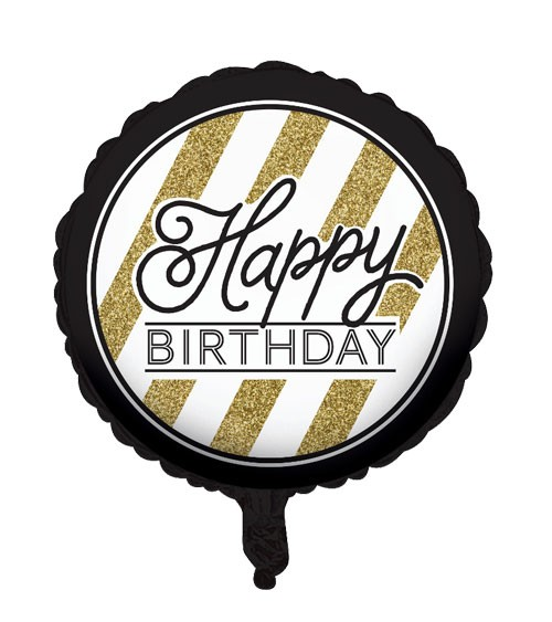 "Runder Folienballon ""Black & Gold"" - Happy BIRTHDAY"