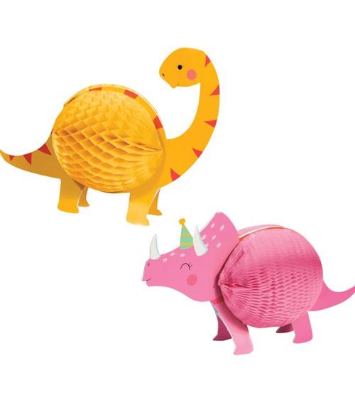 """Wabenausteller-Set """"Lustige Dinos"""" - pink & gelb - 2-teilig"""