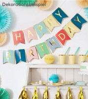 "DIY-Wimpelgirlande ""Happy Birthday"" - Farbmix - 1,75 m"
