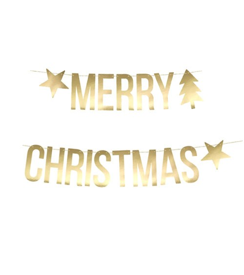 """Merry Christmas""-DIY-Girlande - metallic gold - 1,5 m"