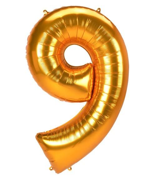 "JumboShape-Folienballon Zahl ""9"" - gold - 83 x 137 cm"