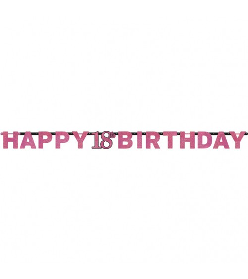 "Happy Birthday-Girlande ""Sparkling Pink"" - 18. Geburtstag"