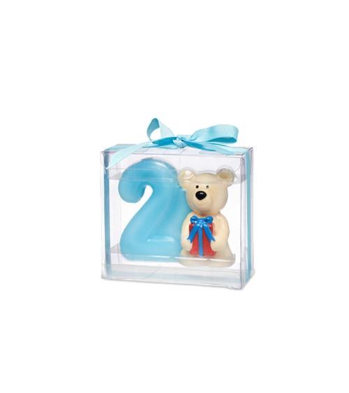 Kerze 2. Geburtstag mit Teddybär - blau